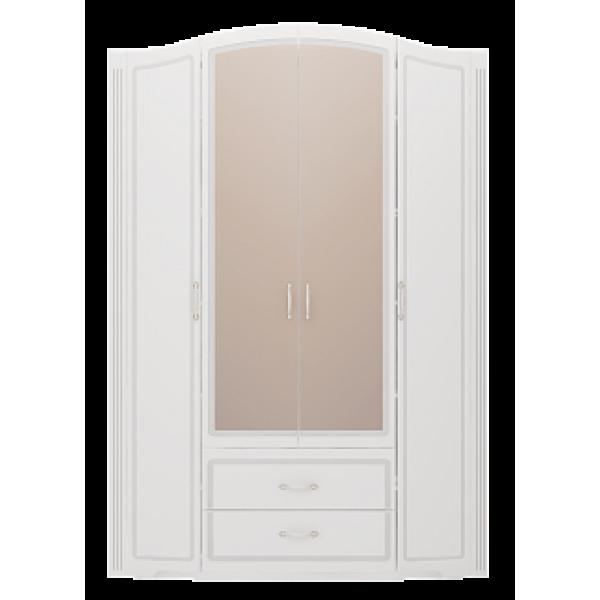 Шкаф для одежды четырехдверный с зеркалом Виктория №2